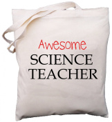 Awesome Science Teacher - Natural Cotton (Cream) Shoulder Bag - School Gift