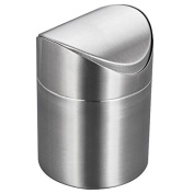 Demiawaking Mini Stainless Steel Rubbish Bin Swing Bucket Table Desktop Garbage Can