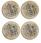 Shabby Chic , Art Decor, old fashioned, Set of 4 high gloss coated wooden coasters with soft cork base