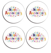 Happy Anniversary Set of 4 high gloss coated wooden coasters with soft cork base