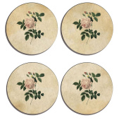 Shabby Chic , Flower Art Decor, old fashioned, Set of 4 high gloss coated wooden coasters with soft cork base