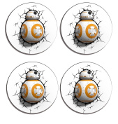 BB-8 Star Wars The Force Awakens Set of 4 high gloss coated wooden coasters with soft cork base