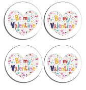 Be My Valentine Set of 4 high gloss coated wooden coasters with soft cork base