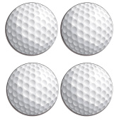 Golf Ball Set of 4 high gloss coated wooden coasters with soft cork base