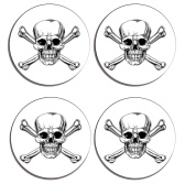 Gothic Skull and Crossbones Set of 4 high gloss coated wooden coasters with soft cork base