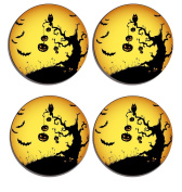 Halloween Set of 4 high gloss coated wooden coasters with soft cork base
