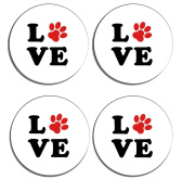 Love Paw Print Set of 4 high gloss coated wooden coasters with soft cork base