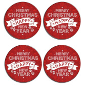Merry Christmas and a Happy New Year Set of 4 high gloss coated wooden coasters with soft cork base