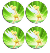 Peter Pans Tinkerbell Set of 4 high gloss coated wooden coasters with soft cork base