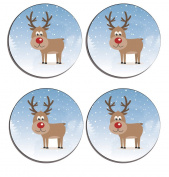 Reindeer Christmas Set of 4 high gloss coated wooden coasters with soft cork base