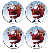 Santa, Father Christmas Set of 4 high gloss coated wooden coasters with soft cork base