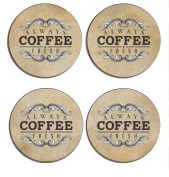 Shabby Chic , Coffee Art Decor, old fashioned, Set of 4 high gloss coated wooden coasters with soft cork base