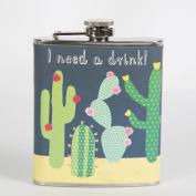 Sass & Belle Colourful Cactus Hip Flask, Multi Colour