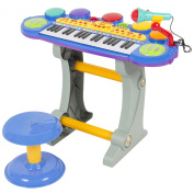 Musical Kids Electronic Keyboard 37 Key Piano W/ Microphone, Synthesiser, Stool, Records and Playbacks Music Blue