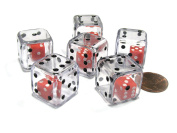 Set of 6 D6 19mm Double Dice, 2-In-1 Dice - Red Inside Clear Die