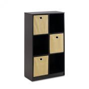 Furinno 13087EX/LB Econ Storage Organiser Bookcase with Bins, Espresso/Light Brown
