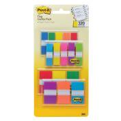 Post-it Flags Assorted Colour Combo Pack, 320 Flags Total, 200 2.5cm Wide Flags and 120 .13cm Wide Flags, 4 On-The-Go Dispensers/Pack