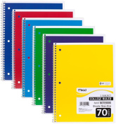 6 PACK:Mead Spiral Notebook, College Ruled, 1 Subject,