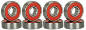 8 Pcs Abec 9 Durable Titanium & Stainless Steel Sporting Goods Skateboard Bearings Red