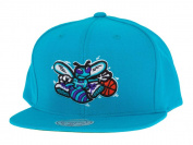 Charlotte Hornets Mitchell & Ness Vintage Basic Logo Teal Snap Back Hat