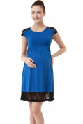 "Momo Maternity Empire Blue ""Mabel"" Lace Insert Skater Dress"
