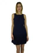 Alice + Olivia Womens Marino Navy Pleated Flare Sleeveless Dress S