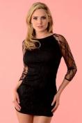 Black Dress with Lace Sleeves Velvet Kitten 3011VK Black Medium/Large, Medium/Large