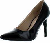 Bamboo Womens Casper-04 Dress Heels Pumps Shoes,Black Patent,6.5