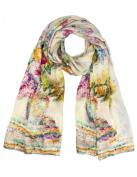 Dahlia Women's 100% Long Silk Scarf Shawl - Watercolour Flowers in Vase