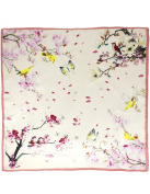 Dahlia Women's 100% Square Silk Scarf - Blooming Branches Neckerchief