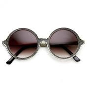 High Fashion Full Metal Ornate Engraved Round Sunglasses