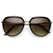 Womens Retro Oversized Metal Plastic Frame Round Sunglasses