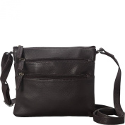 R & R Collections Soft Drum Dyed Leather 3 Zip Crossbody
