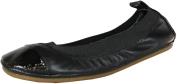 Yosi Samra Girls Two Tone Foldable Flats Shoes,Black/Black,10