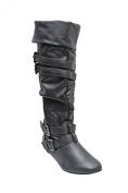 Link Tamika-42K Children Girl's Comfort Slouch Cosy Slip On Buckle Boots,Black,12