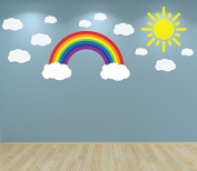 Full Colour Rainbow Clouds and Sun Wall Sticker Decal Set Nursery Baby Room Playroom
