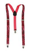 Zebra 3 Clip Stretchable Suspenders- Pink