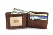 Tony Perotti Mens Italian Cow Leather Express Bifold Wallet with Front ID Window Flap in Cognac