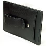 RFID SAFE Hammer Anvil Minimalist Money Clip Front Pocket Wallet Genuine Leather Black