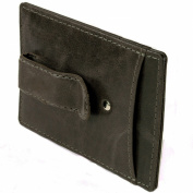 RFID SAFE Hammer Anvil Minimalist Money Clip Front Pocket Wallet Genuine Leather Grey