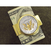 American Coin Treasures Presidential Seal JFK Half Dollar Goldtone Money Clip