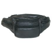 CTM® Unisex Leather 6 Pocket Fanny Waist Pack, Black