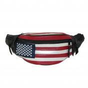 CTM® Unisex Leather Patriotic American Flag Fanny Waist Pack, American Flag
