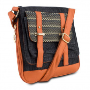 Mad Style 317834 Demi Crossbody, Black Denim & Orange