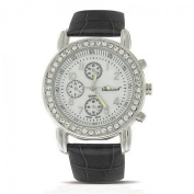 Bling Jewellery Geneva Round Deco Style Black Leather Strap Stainless Steel Back Watch