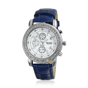 Bling Jewellery Geneva Round Deco Style Navy Leather Strap Stainless Steel Back Watch