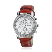 Bling Jewellery Geneva Round Deco Style Red Leather Strap Stainless Steel Back Watch