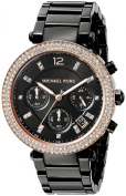Michael Kors Parker Chronograph Black Dial Black Ion-plated Ladies Watch MK5885
