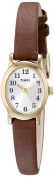 Timex T2M567 Women's Cavatina Brass Gold Tone Brown Leather Strap Watch