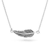 Bling Jewellery Oxidised Sterling Silver Nature Leaf Pendant Feather Necklace 41cm